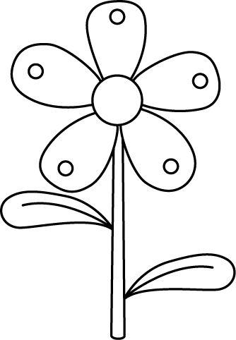 Flower black and white clipart.