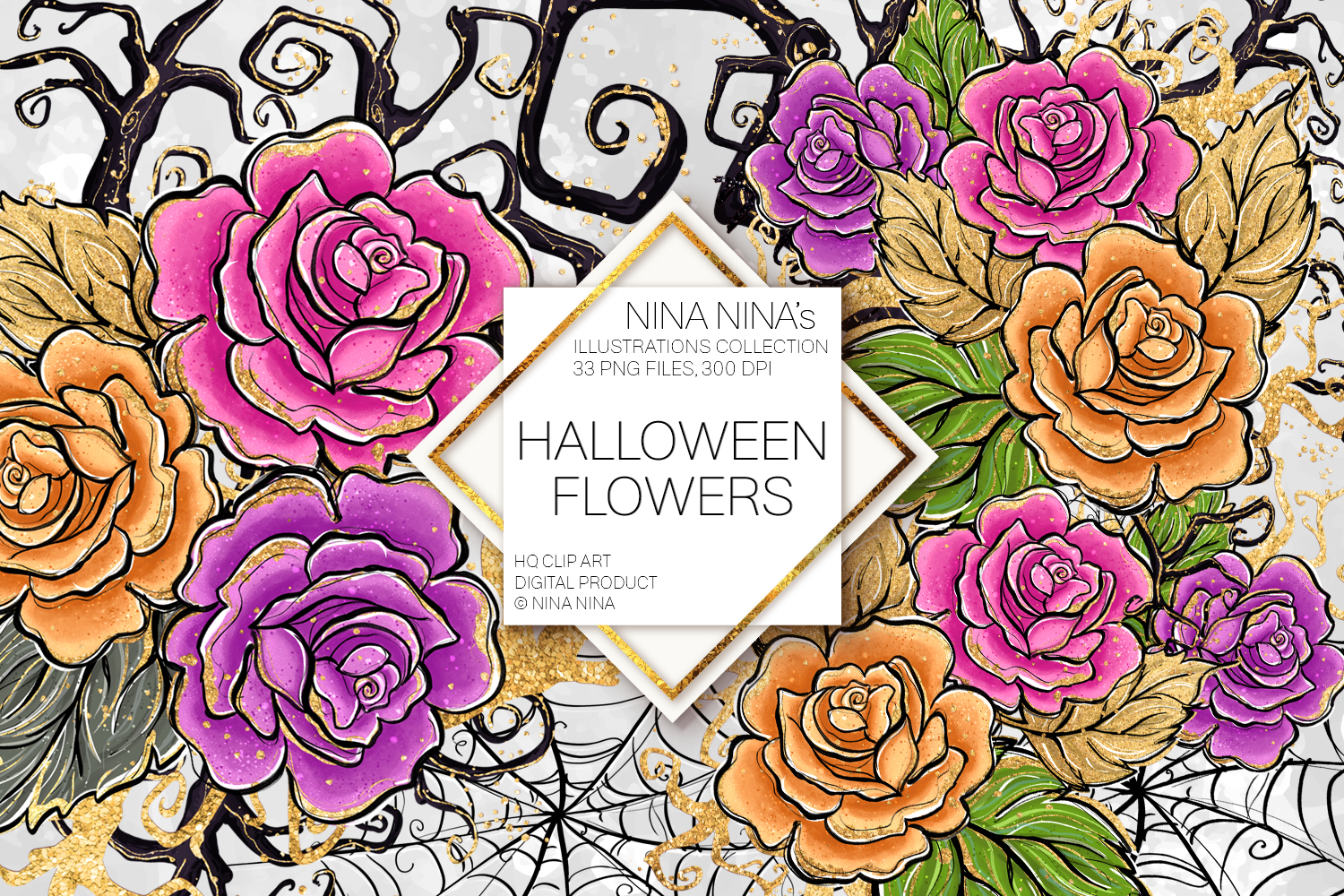 Halloween Flowers Clipart, Roses Clip Art, Stickers PNG Pack.