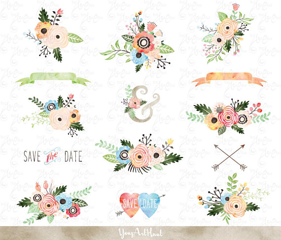 Watercolor Flowers Clipart pack \