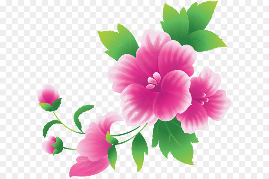 Pink Flowers Clipart Large.