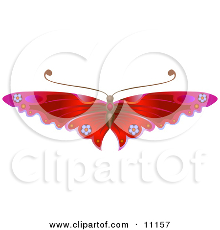 Gorgeous Red Butterfly With Flower Decoration on the Wings Posters.