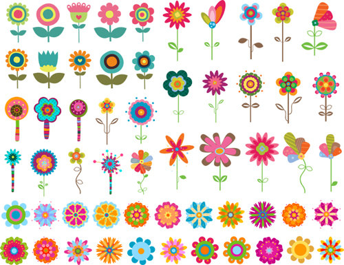 Instant Download Digital Flower Clip Art Flower Collection.