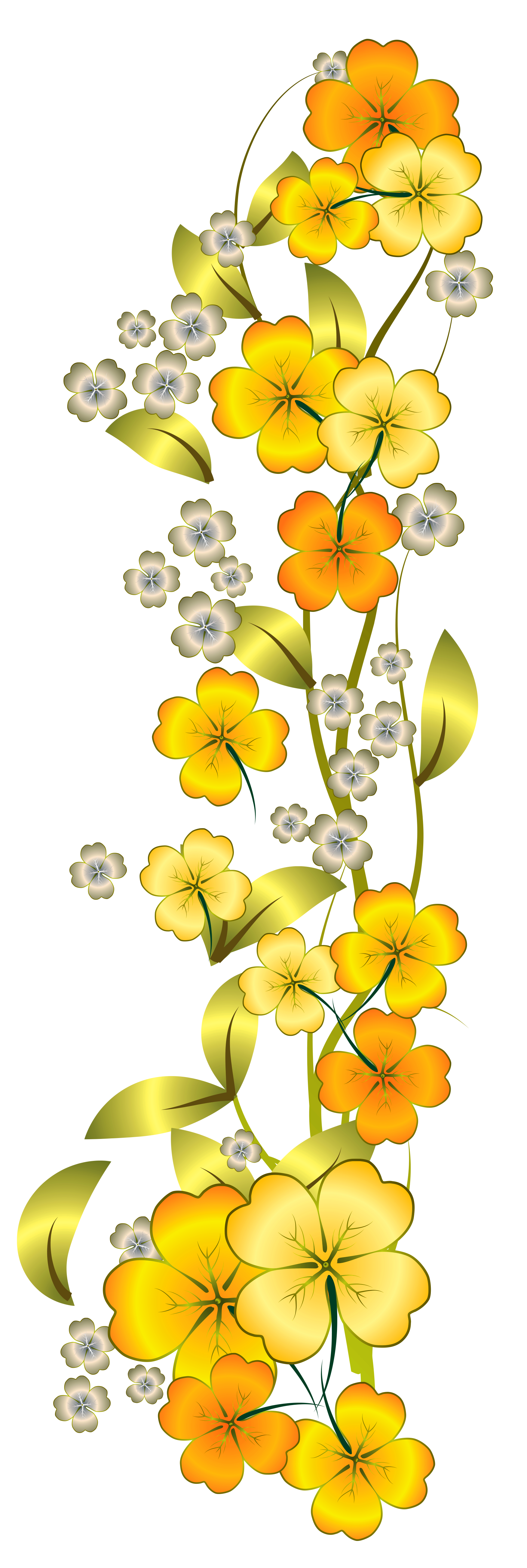 Yellow Flower Decor PNG Clipart.
