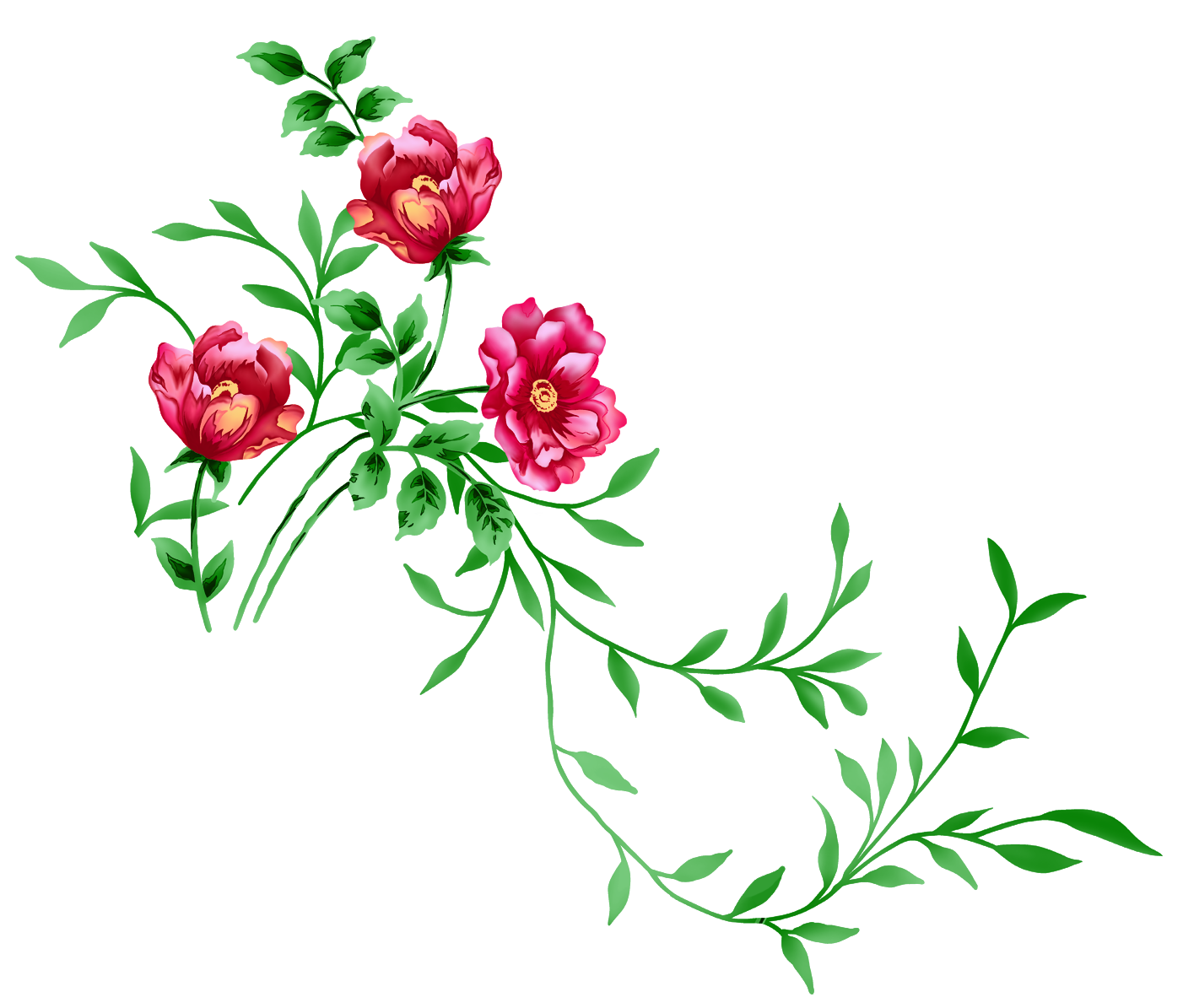 Red Floral Decor PNG Transparent Clipart.