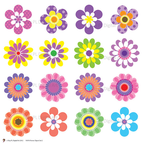 Spring Summer Flowers COMMERCIAL USE Mothers Day Digital Clipart.