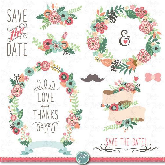 "Wedding Clipart Pack ""WEDDING FLORA"" Clip Art,Vintage Flowers."