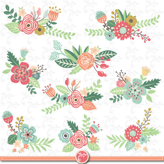 "Flowers Clipart pack ""FLOWER CLIP ART"" pack,Vintage Flowers,Spring."