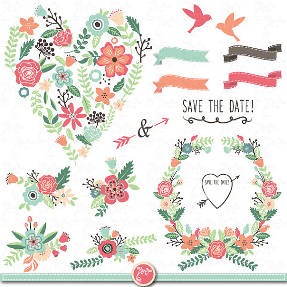 "Wedding Clipart pack ""WEDDING FLORA"" clip art pack Vintage Flowers."