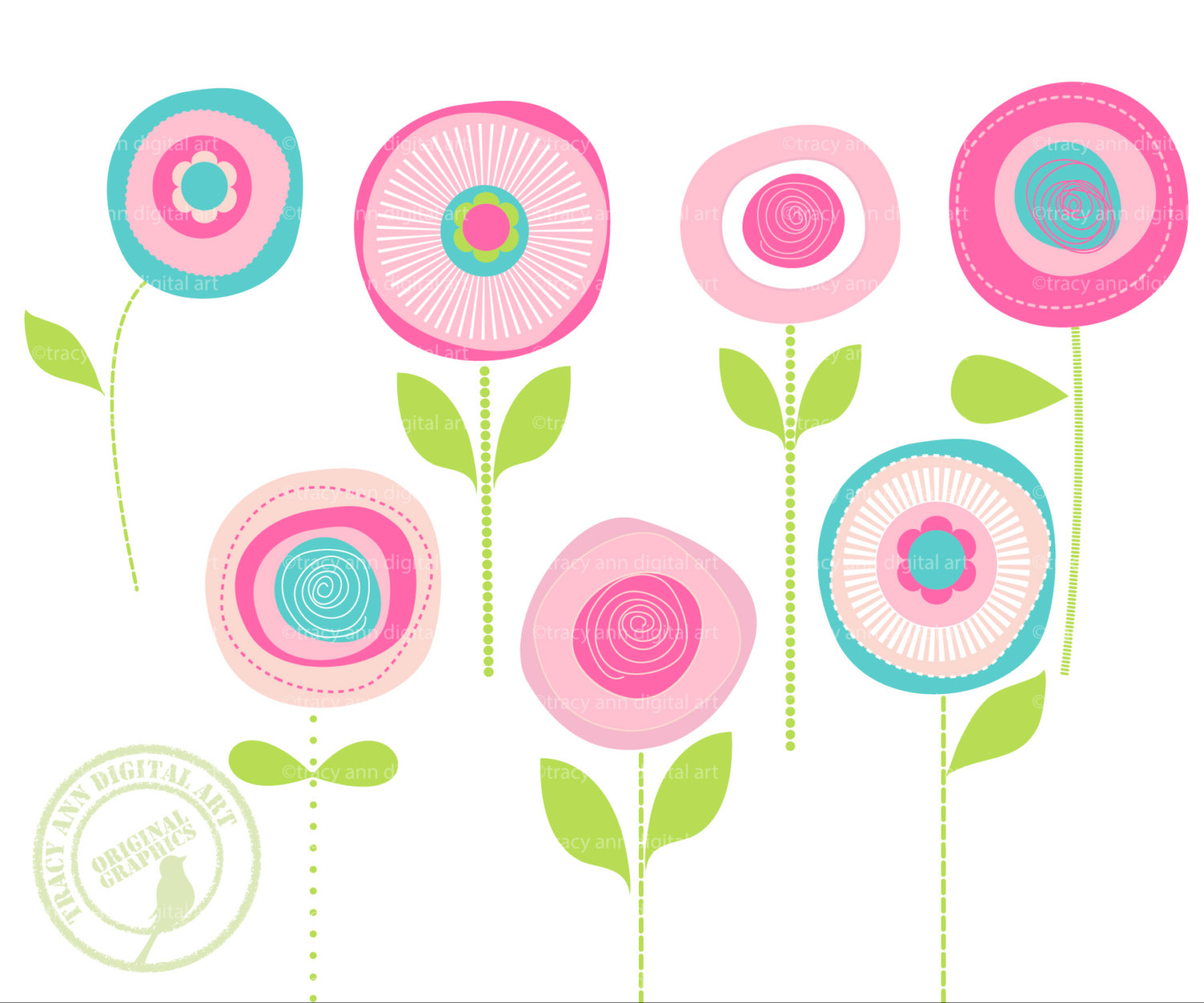 Contemporary clip art flowers.