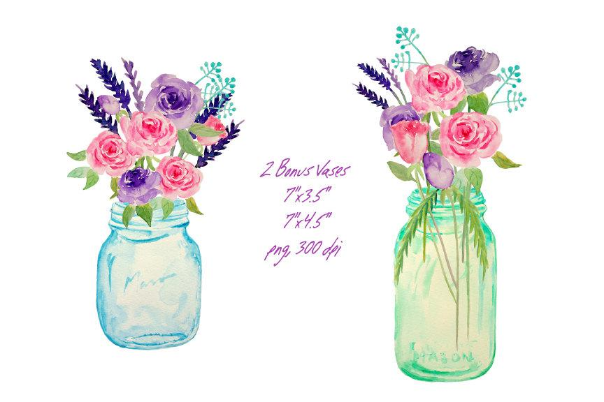Watercolor mason jar and rose, pink rose, purple rose, mason jar clipart,  instant download.