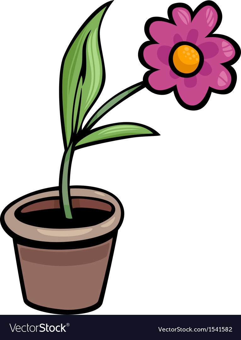 Flower in pot clip art cartoon.