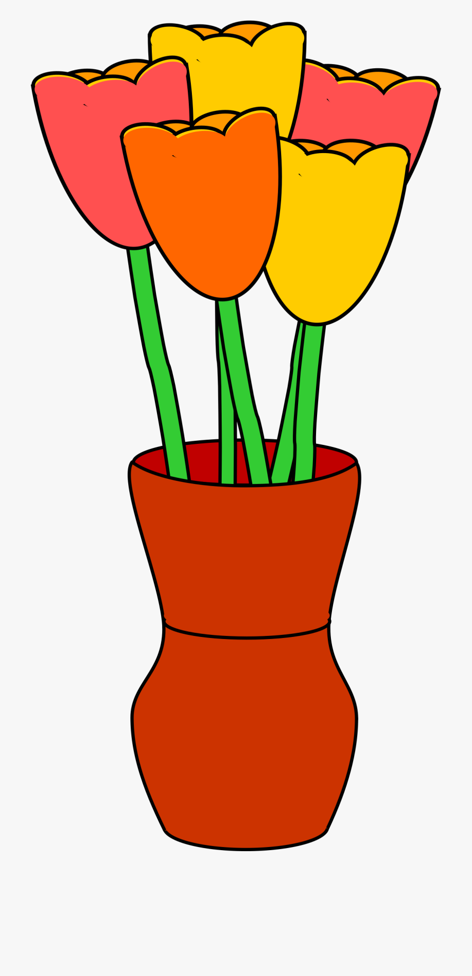 Vase With Multicolored Tulips.
