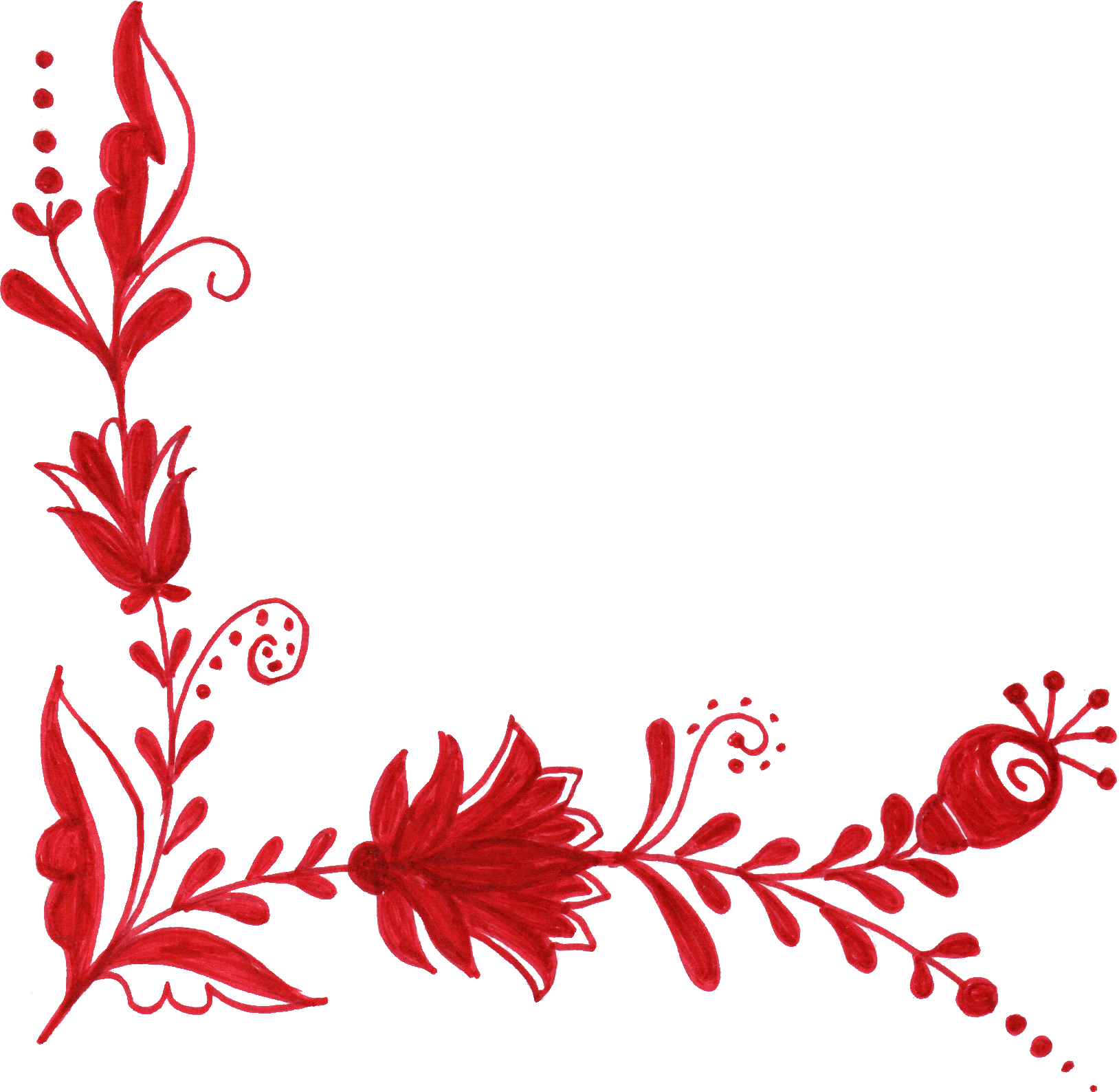 6 Red Flower Corner Ornament (PNG Transparent).