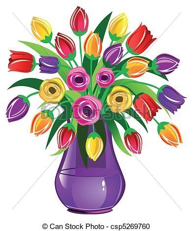 Flower Vase Images Clip Art Spring Flowers Vase Full Of Tulips.