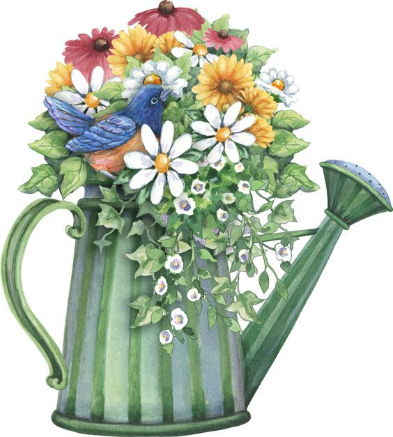 watering can full of spring flowers.