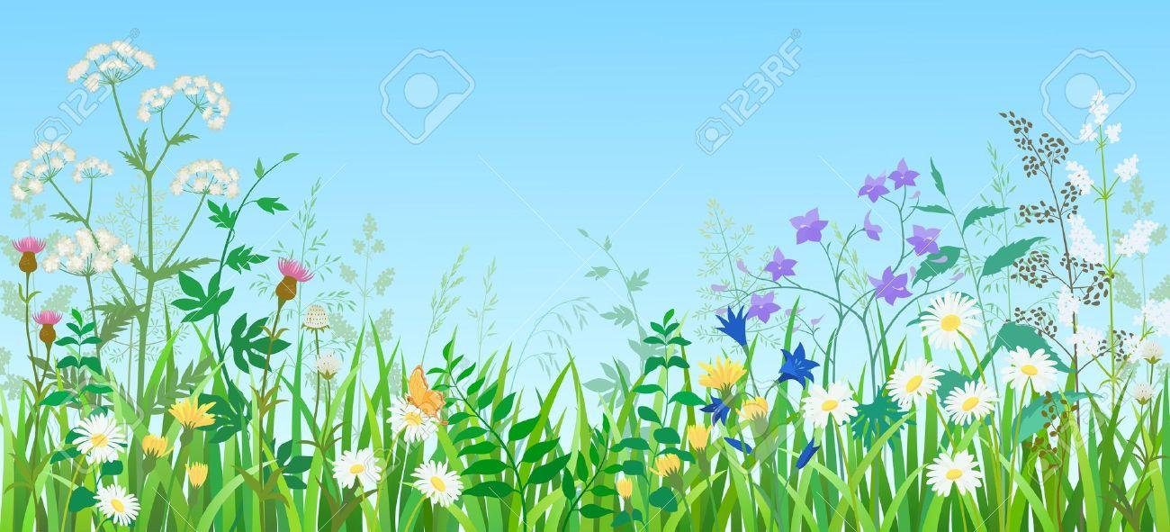 Field of Flowers Clip Art.