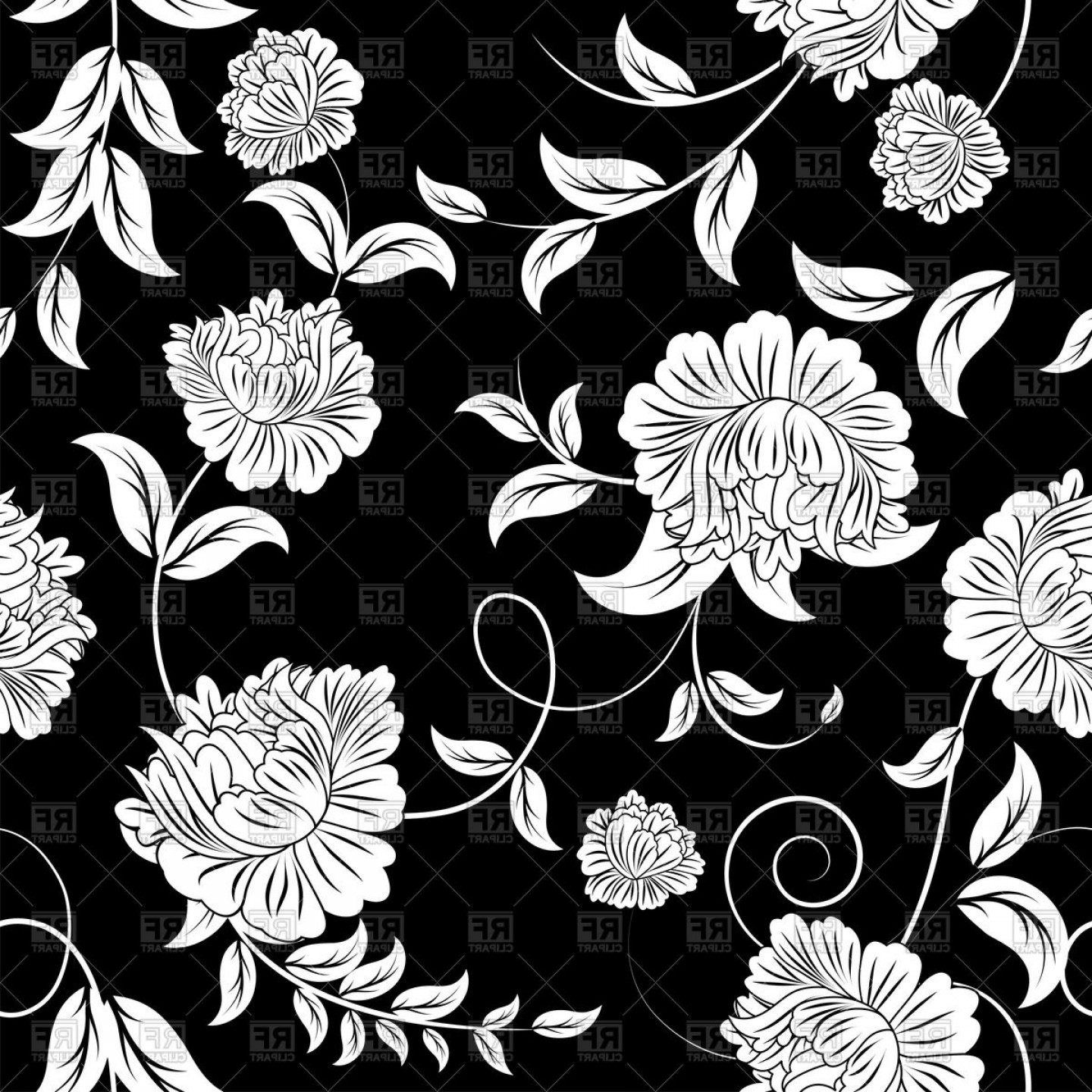 Seamless Black And White Floral Pattern Vector Clipart.