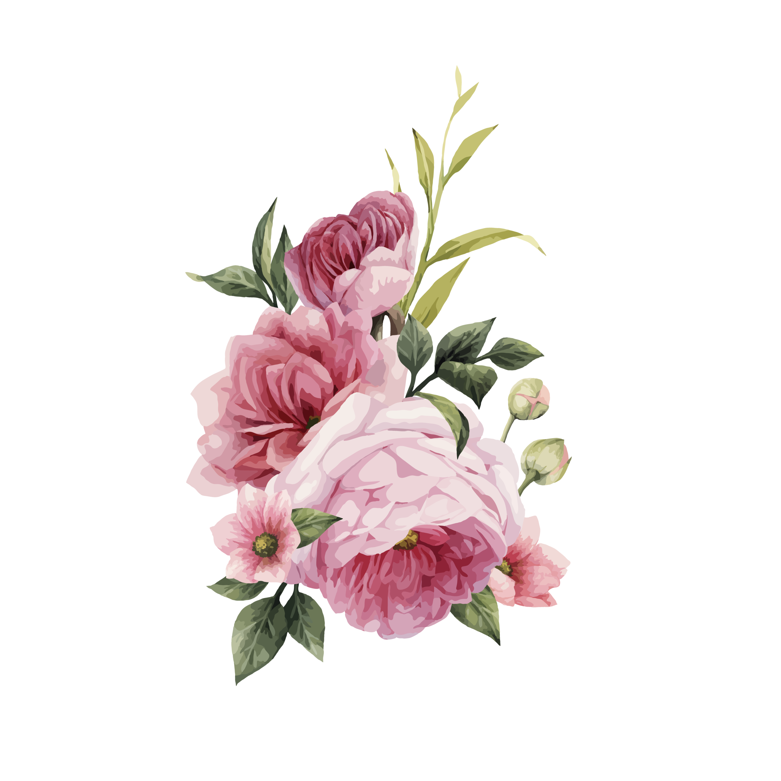 Download Free png Watercolor Wedding Flowers PNG Photo Vector.