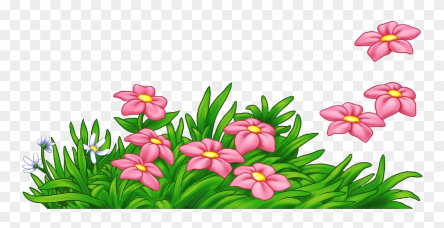 Grass With Flowers Png Clipart.