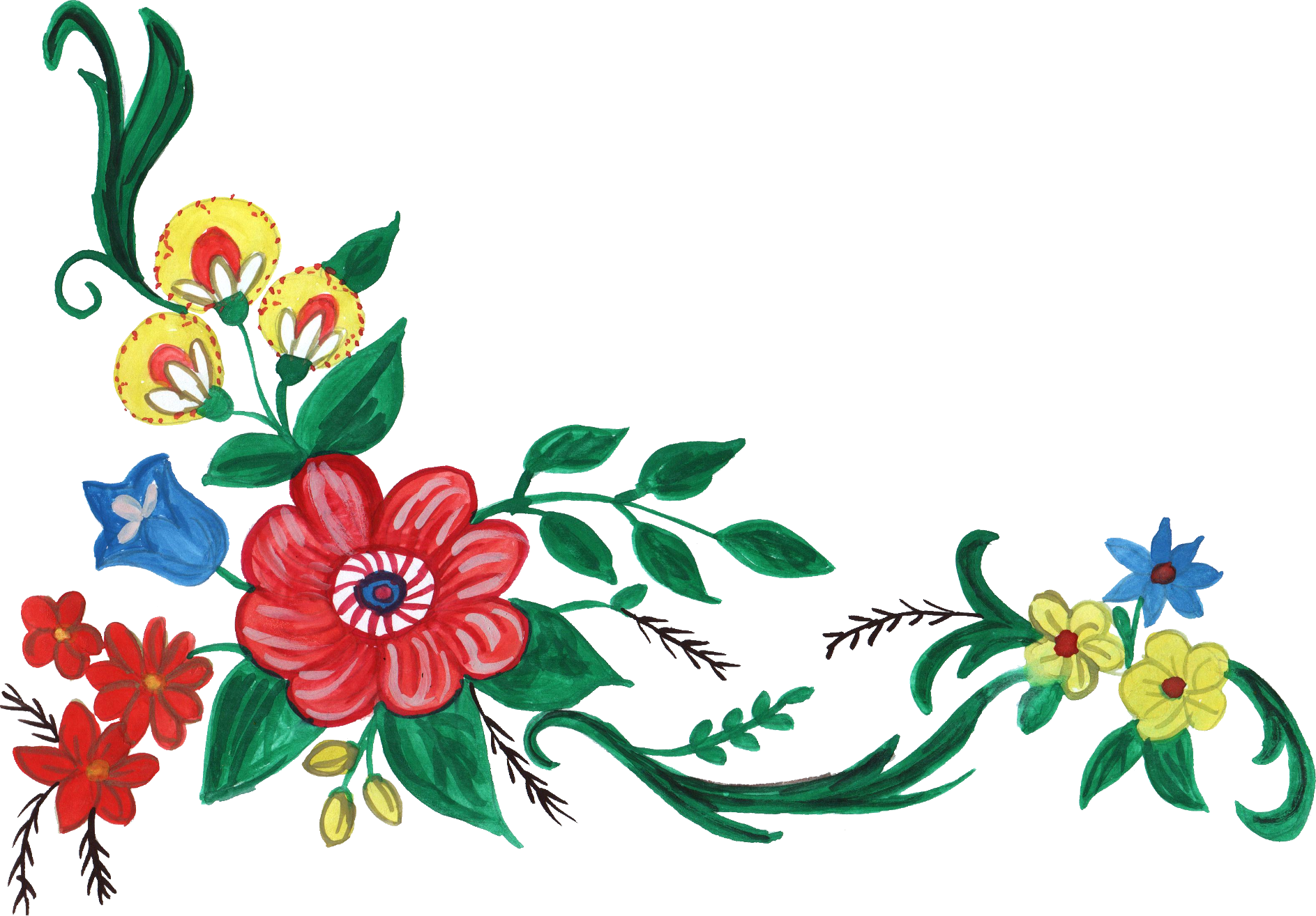 5 Watercolor Flower Corner (PNG Transparent) Vol. 2.