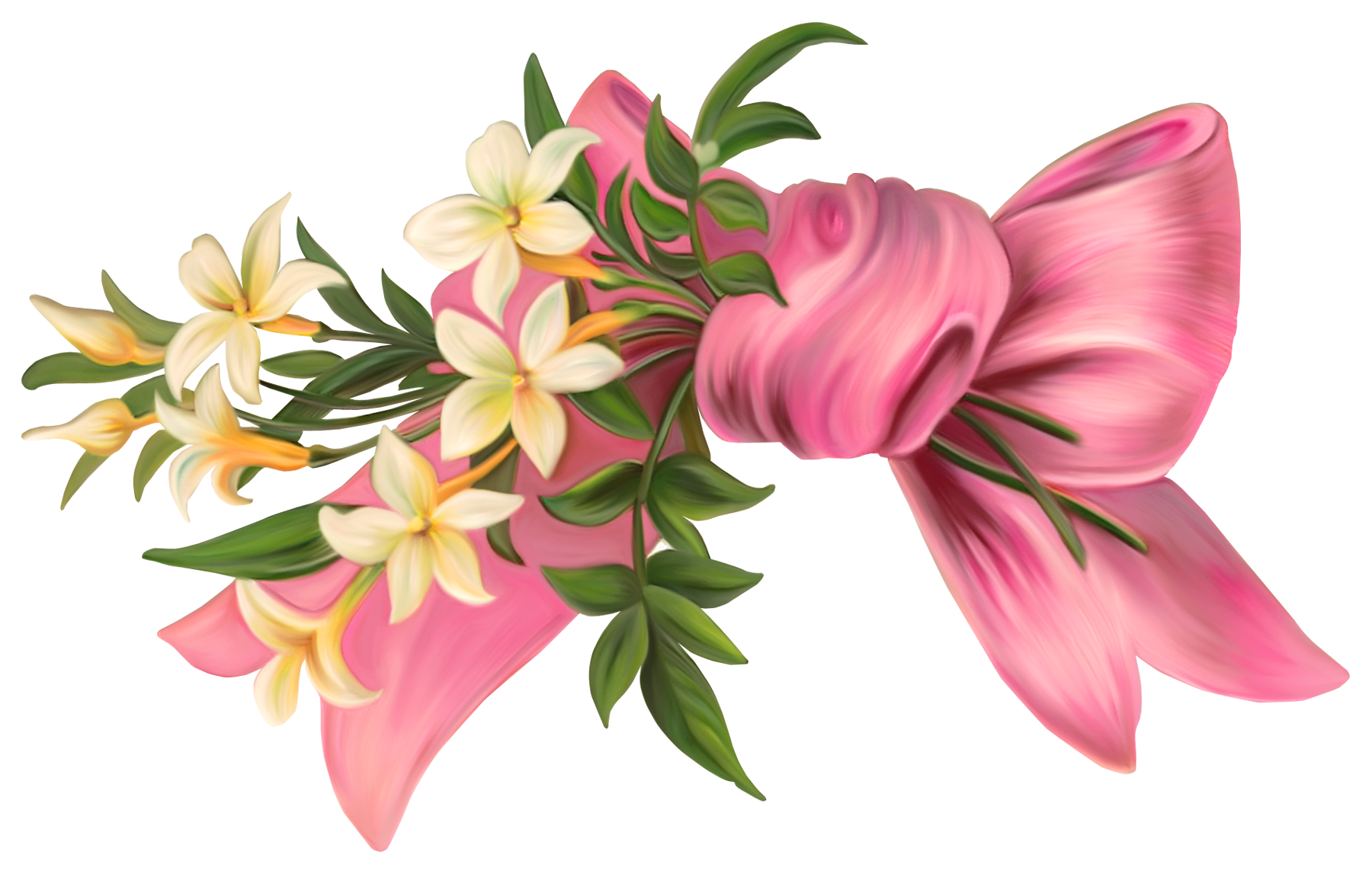 Pink Bow with Flowers PNG Element.