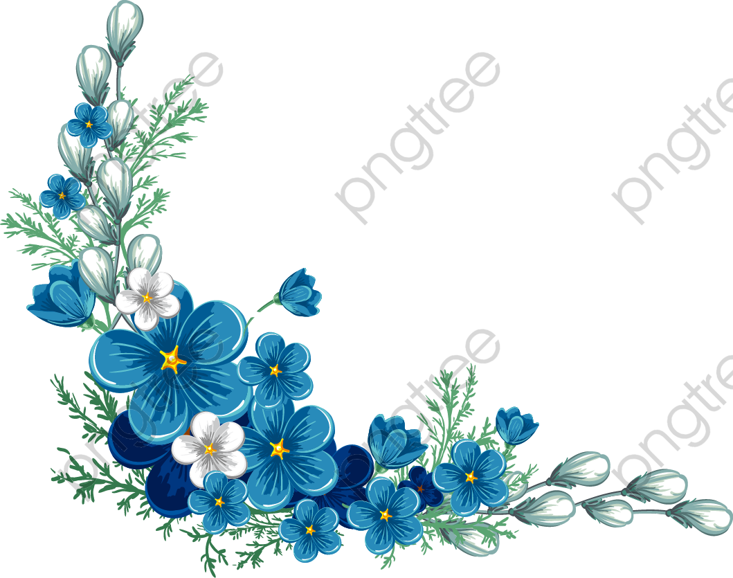 Transparent painted blue flower PNG Format Image With Size 2500*2500.