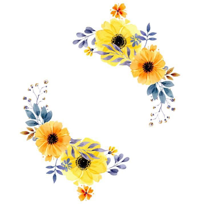 Flowers border PNG.