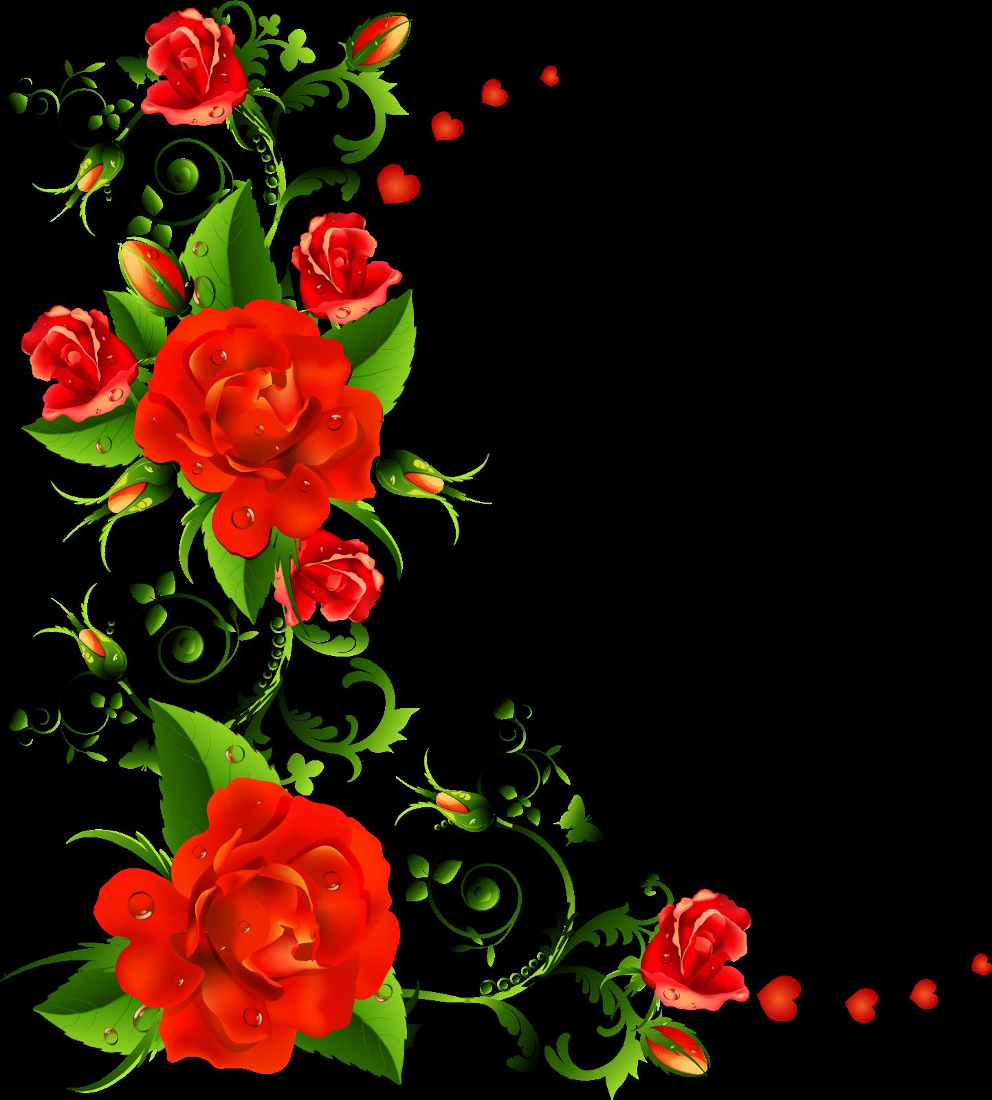Download Rose Flower Border Free Download PNG HD HQ PNG Image.