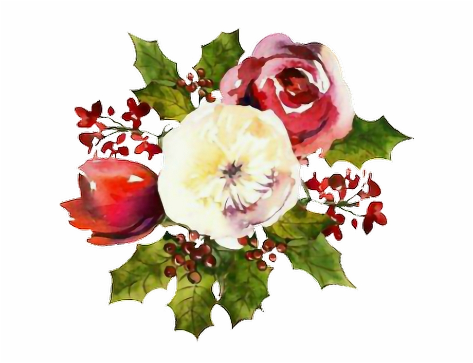 christmas #flowers #watercolors #sticker.
