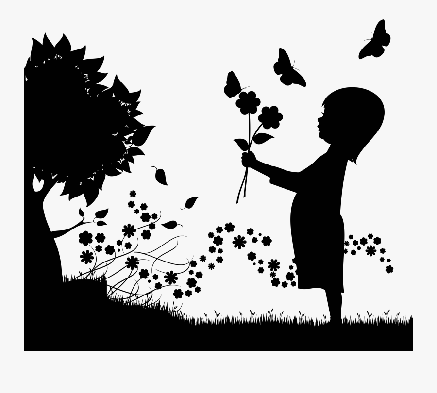 Girl With Flowers Floral Scene Silhouette.