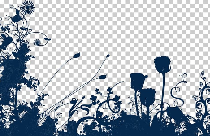 Flowers Silhouette PNG, Clipart, Blue, Brand, Computer Wallpaper.