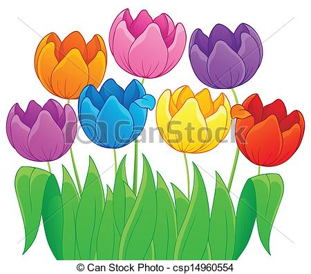 Clipart Vector of Image with tulip flower theme 4.