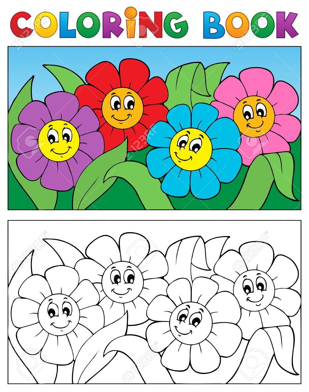 Coloring Book With Flower Theme 1.