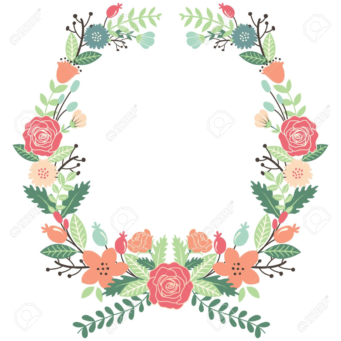 Vintage Flowers Wreath.