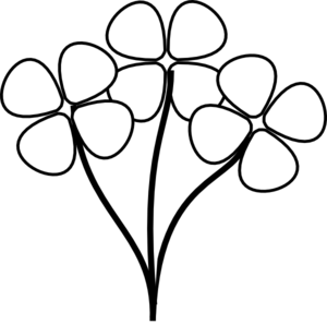 Black white clip art flowers.