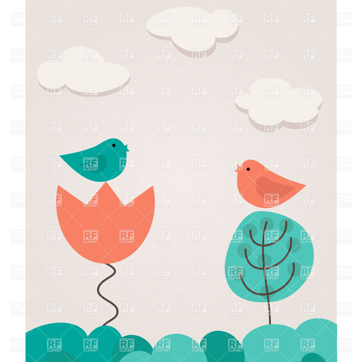 Landscape with two cartoon birds, tree and flower on cloudy sky.