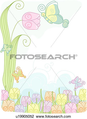 Clip Art of clouds, flower, sky, butterfly, tulip, animal, plant.