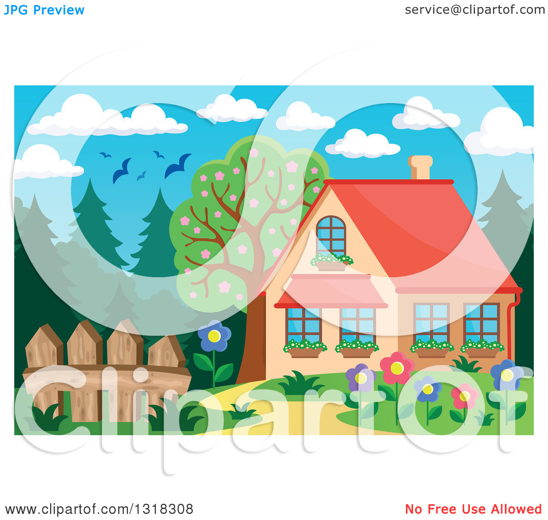 Clipart of a Cartoon Home with a Flower Garden, Forest and Birds.