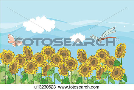 Drawing of sky, sunflower, butterfly, dragonfly, flower, clouds.
