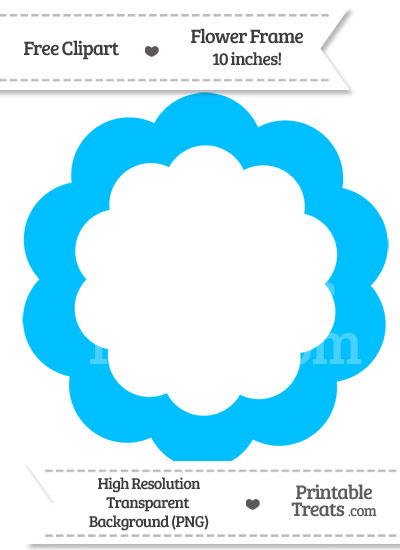 Deep Sky Blue Flower Frame Clipart — Printable Treats.com.