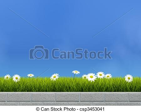Clipart of Flower bed with grass and camoline over blue sky.