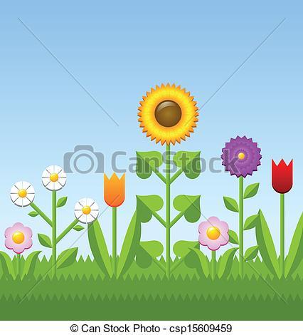 Clipart Vector of Flower garden.