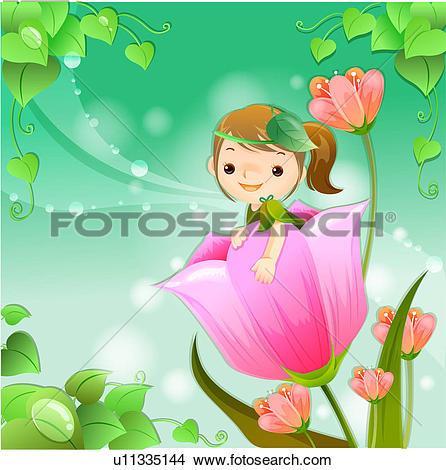 Drawings of child, leaves, flower, sky, dream u11335144.