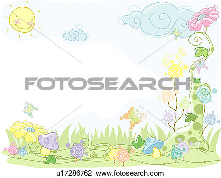 Clip Art of butterfly, flower, mushroom, clouds, sky, plant.