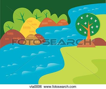 Clipart of flowing river jba0331.
