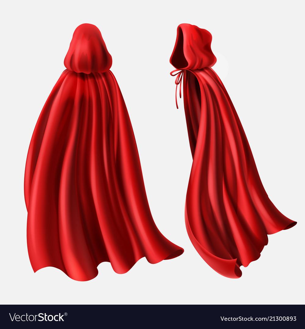 Set of red cloaks flowing silk fabrics.