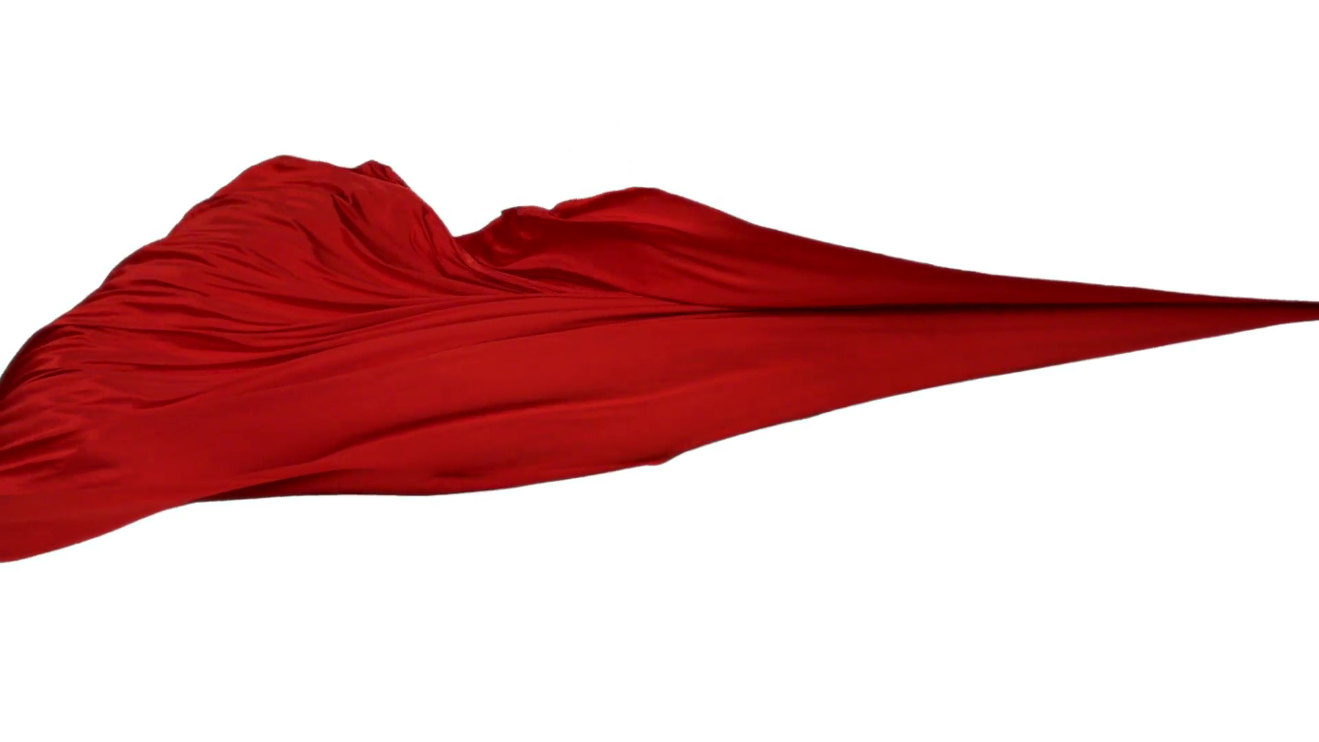 Red fabric flowing on white background, Slow Motion Stock Video Footage.