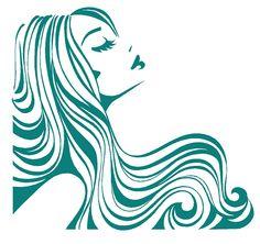 Flowing hair clipart.