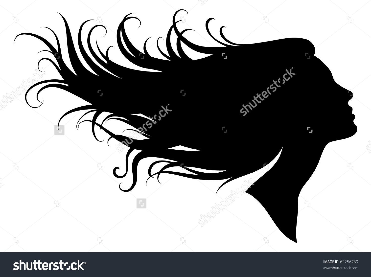 Girl With Flowing Hair Silhouette.