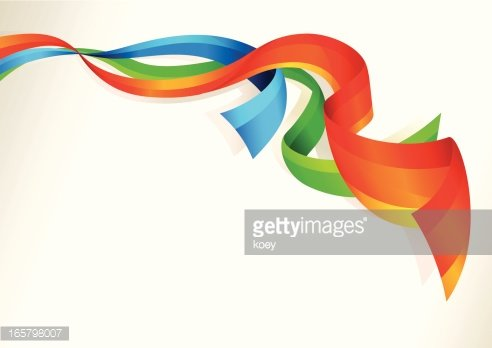 Colorful Flowing Ribbons Clipart Image.